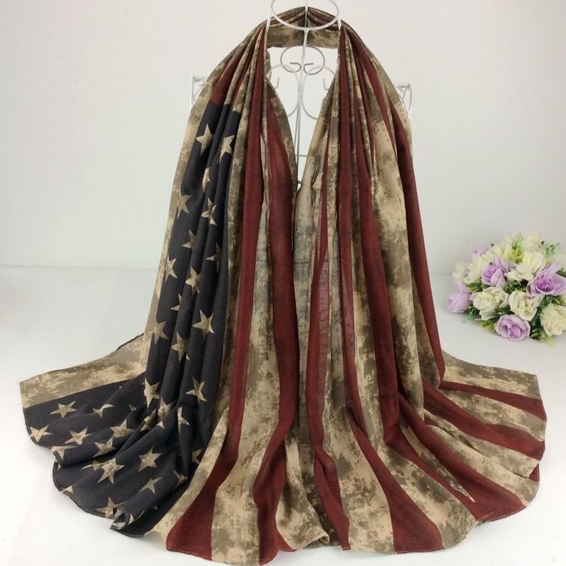Americká vlajka tisk Rayon dámské dlouhé šály šátky a hidžáby pruh tisk USA vlajka ženy šátek módní hlavy šály D5-20
