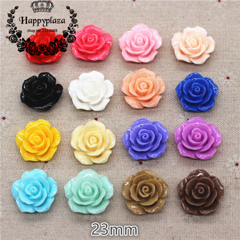 20pcs 23mm Resin Camellia Flowers Flat Back Cabochon DIY Jewelry/ Craft Decoration(No Hole)