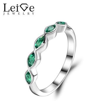 dea5d2ba954c Liege joyería banda de boda Esmeralda verde Gemstone Anillos de compromiso  para las mujeres plata 925 joyas mayo birthstone