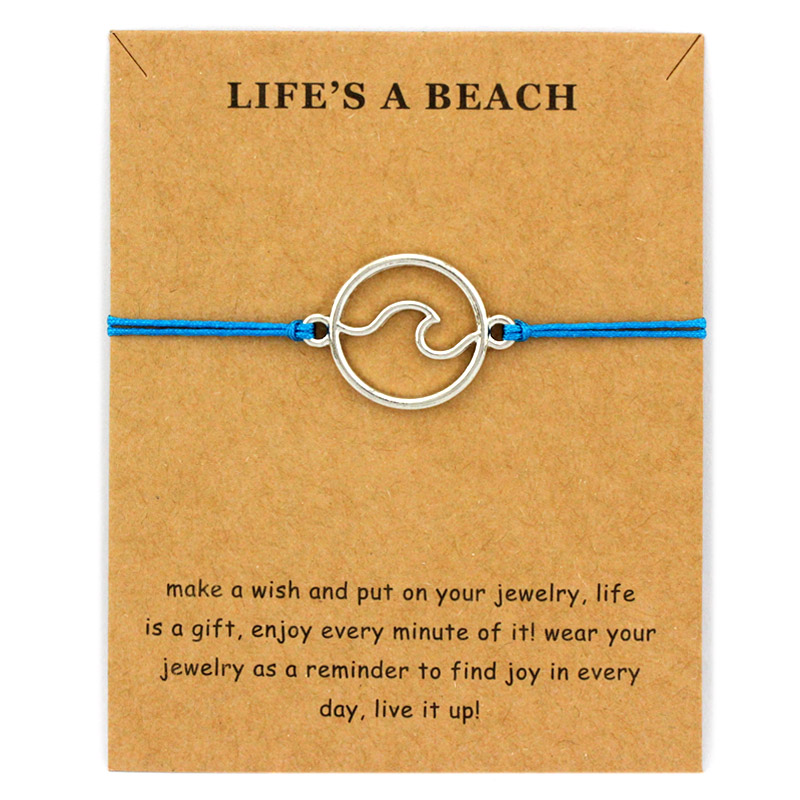 Ocean Waves Beach Sailing Charm Card Adjustable Bracelets Women Men Friendship Lover 39 s Couple Friends Fashion Jewelry Gift in Charm Bracelets from Jewelry amp Accessories