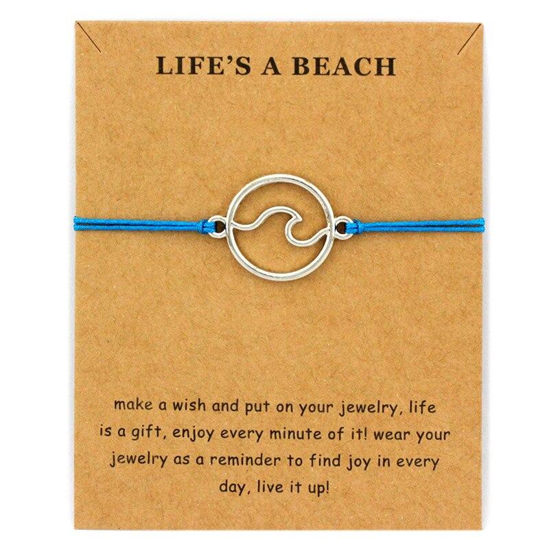 Ocean Waves Beach Sailing Charm Card Adjustable Bracelets Women Men Friendship Lover's Couple Friends Fashion Jewelry Gift
