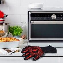 HOMEMAXS пара духовых рукавиц термостойкие менее 800℃ хлопок силиконовые защитные барбекю, гриль перчатки(черный, красный