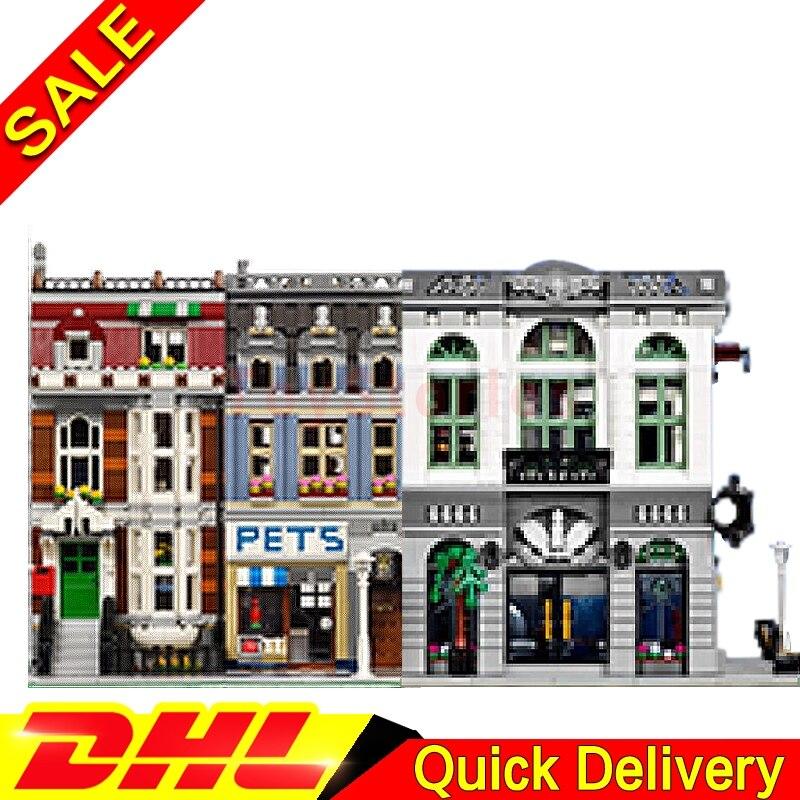 LEPIN 15001 Brick Bank Lepin 15009 Pet Shop Supermarket Model Building Street Sight Kits Blocks Bricks legoings Toys 10251 10218 stadtstrabe creator pet shop supermarkt modell lepin 15009 2082 stucke baustein kinder spielzeug kompatibel 10218 ziegel