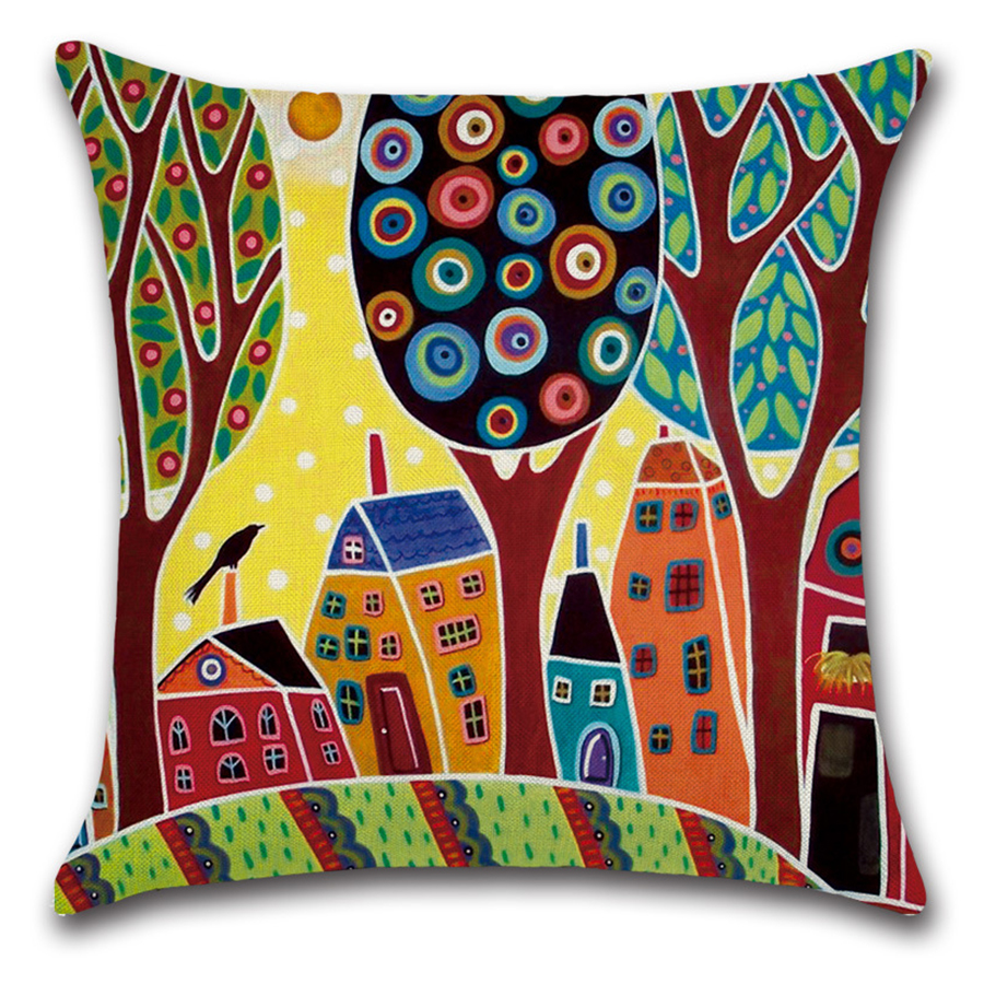 Image 5 - Cartoon Abstract Art Hand painted Print Pillow Cover Decorative Yellow Geometry Home Farmhouse Decor for Kids Children Room Sofa-in Cushion Cover from Home & Garden