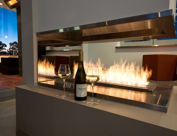 On Sale 1.5M 60 Inch Black/silver Smart Control Wall Ethanol Fireplace