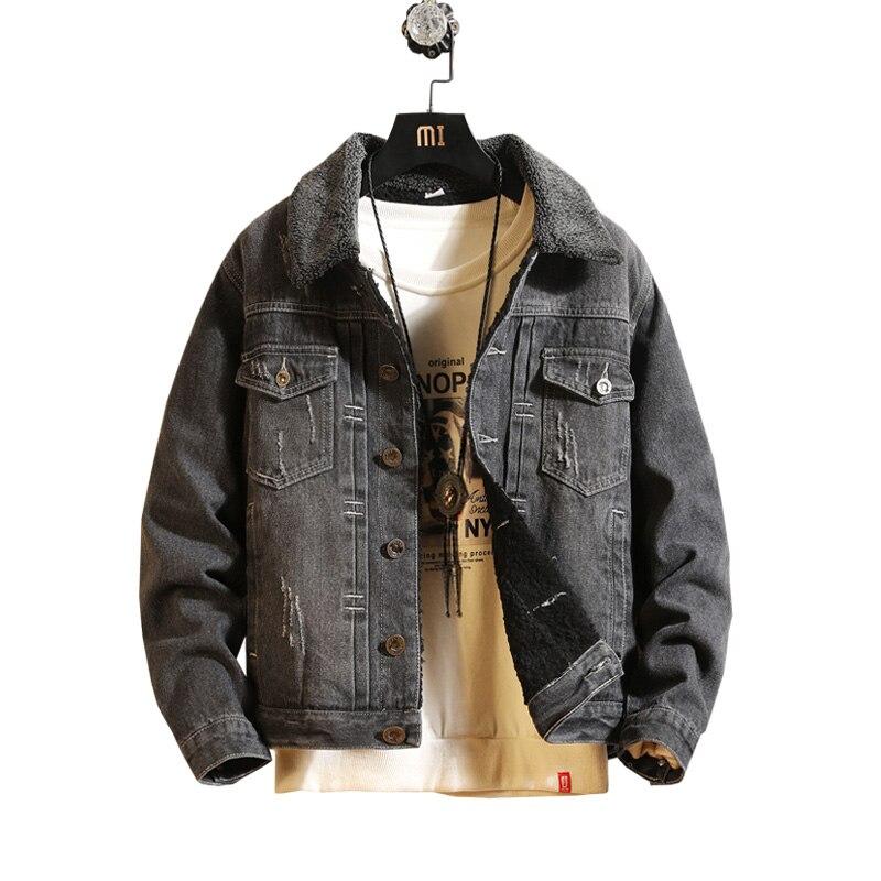 2018 Men Jacket & Coat Trendy Warm Fleece Denim Jacket Man Winter Fashion Mens Jean Jacket Outwear Male Cowboy Plus Size 3XL