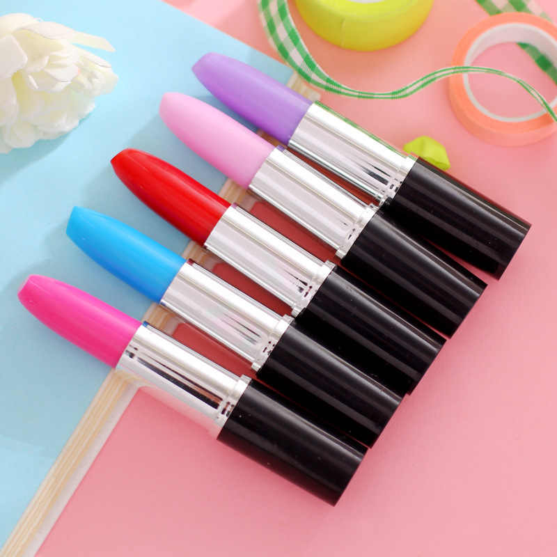 Cute Kawaii Ballpoint Pen Creative Lipstick Pen For School Office Supplies Cartoon Plastic Gel Pen Creative Pen for Girl Student