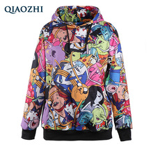 QIAOZHI 2017 New Fashion Women 3d Sweatshirt Printed Adventure Time Funny Cartoon Biscuit Hoodies Pullovers