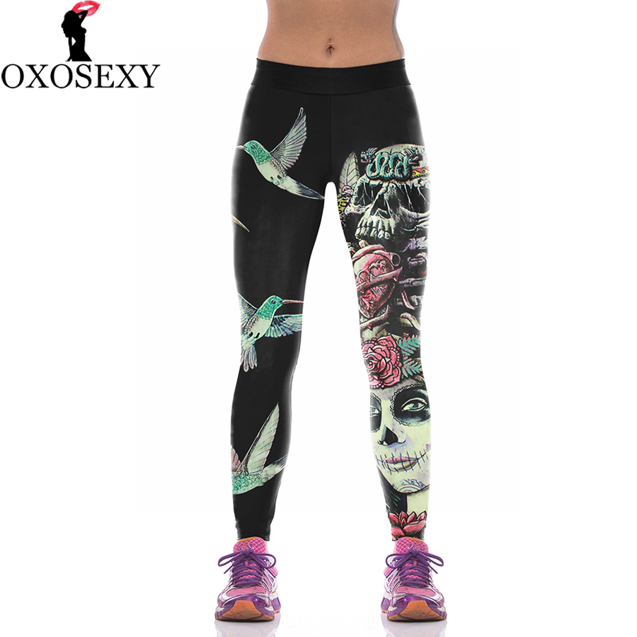 Fashion Lycra Skull leggings printed Sporting Leggings fitness font b Women b font font b leggins
