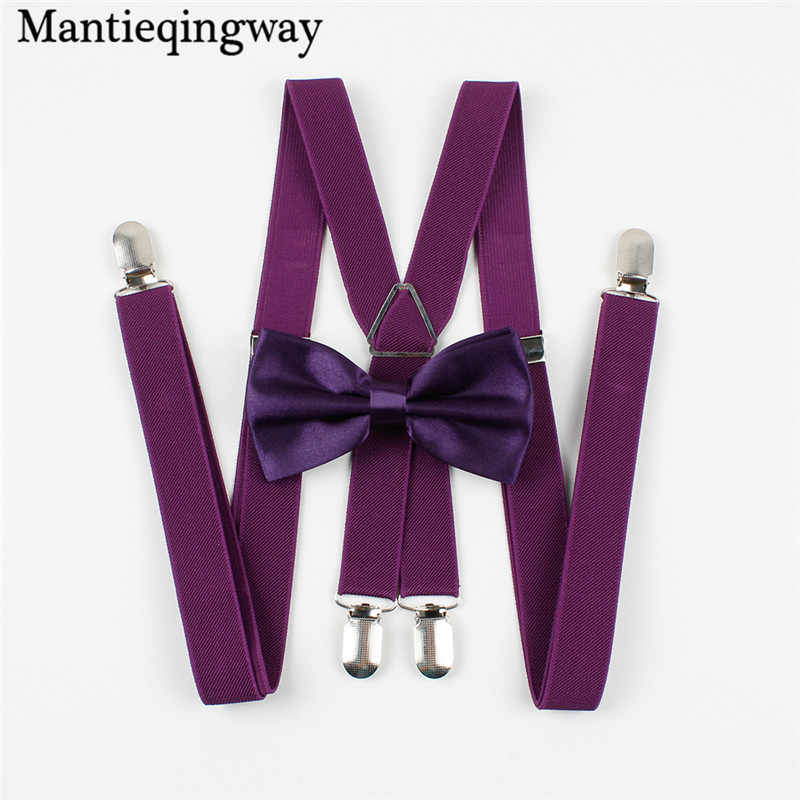 Mantieqingway Classic Solid Color Suspenders Bow Tie Set Candy Color Polyester Wedding Bowtie Suspenders Women Men Elastic Brace
