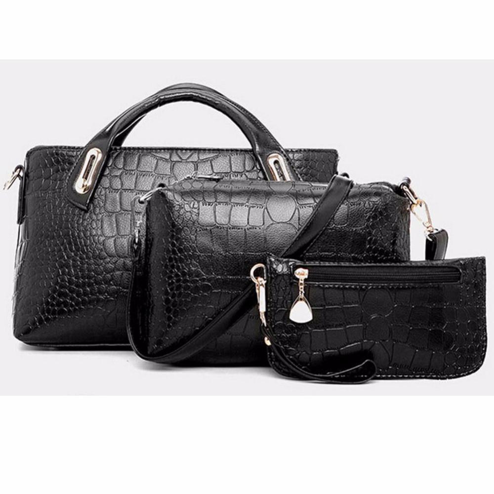 3PCS Set Luxury Leather Handbags Women Messenger Bags Crocodile Pattern  Women Shoulder Bag + Purse Wallet De Marque b5030946e6