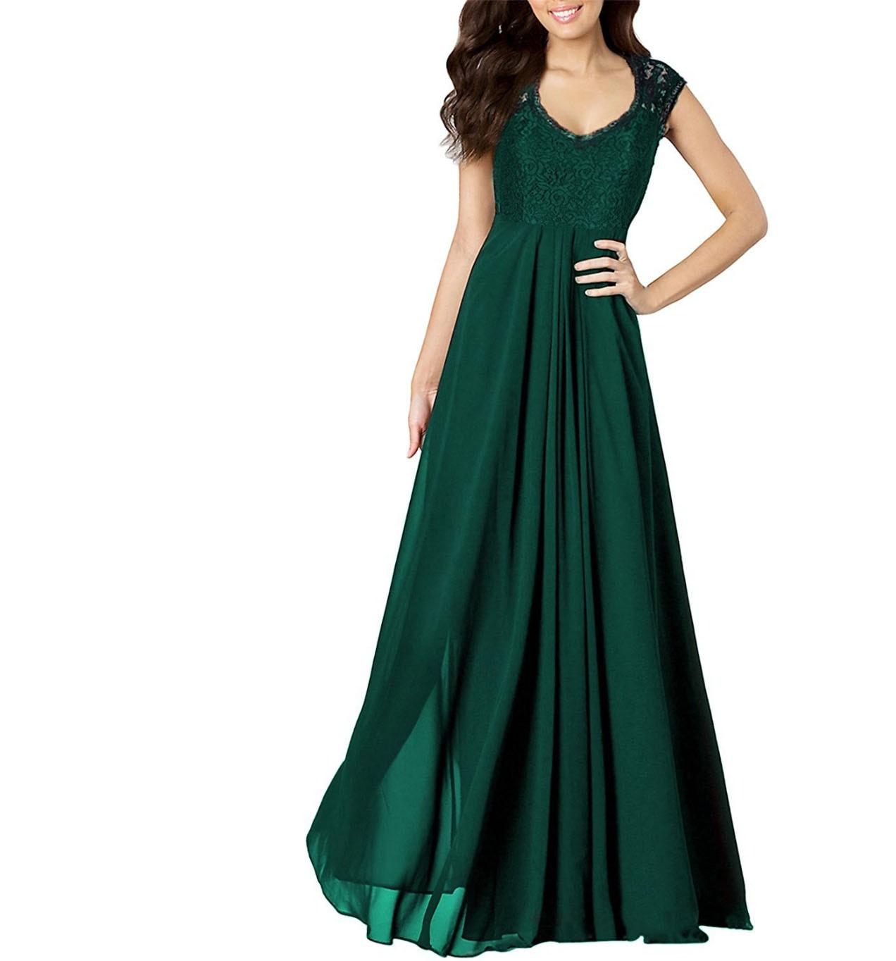 Women Dress Casual A Line Sleeveless Vestidos Lace Floor