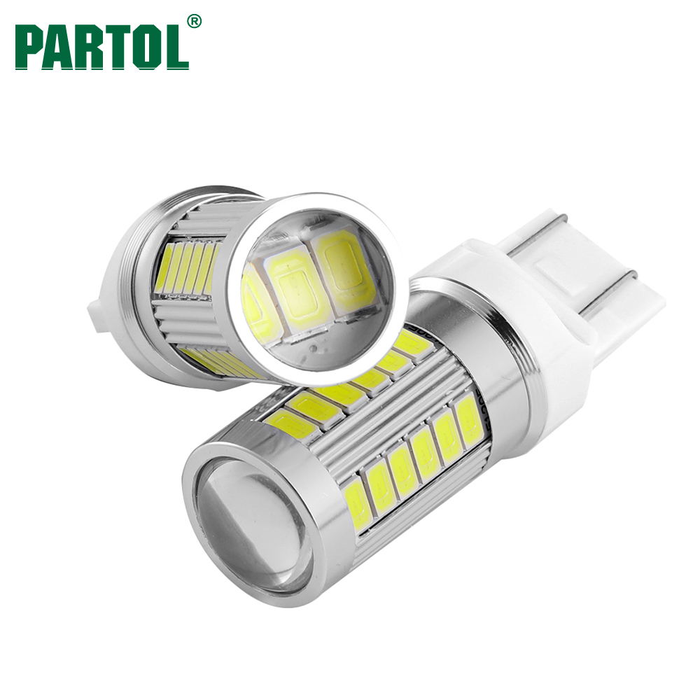 Partol T20 7443 W21/5W LED Light Bulbs Super Bright Automobile Turn Signals Light Car Reverse Lamp Brake Stop Lights White 12V 2pcs auto h7 33smd 4014 led fog lamps car led lights source vehicle reverse lights automobile external brake bulbs turn signals