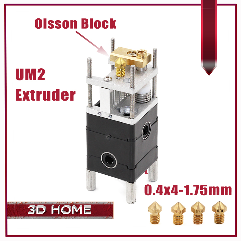 Ultimaker 2 dual Extruder Olsson Block Kit Nozzles 0.4mm HotEnd Dual Heads For 1.75mm Filament 3D Printer UM2 Ultimaker 2 newest 2017 cheaper ultimaker 2 um2 extended 3d printer part dual nozzle olsson block hotend header head for 1 75mm filament