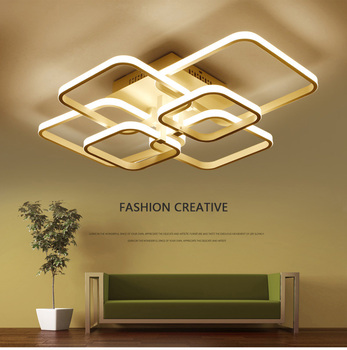 Square Circel Rings Ceiling Lights AC85-265V Acrylic Modern Led Ceiling Lamps Fixtures For Living Room Bedroom Ceiling Lights