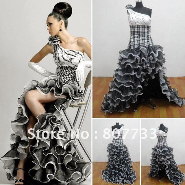 Free Shipping!!! Real sample P0057 black and white plaid floral one ...