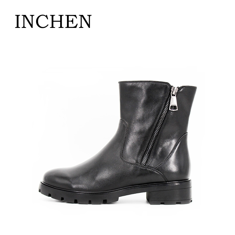 INCHEN Brand Motorcycle Boots High Quality Genuine Leather Women Shoes Low heels Zipper Ankle Boots Short Plush Winter Boot JS40 2015 winter autum women boots size 35 43 softs high heels fashion quality motorcycle shoes woman leather ankle boot s 67