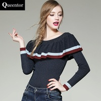 QUEENTOR Original 2017 Brand Knitted Pullover Autumn Winter Long Sleeve Slash Neck Fashion Cute Sweater Women