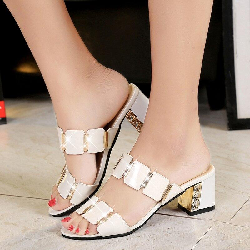 цена на Lucyever Women Fashion Summer Sandals Hoofs Heels Metal Open Toe Party Shoes Woman Casual Patent Leather Rivets Flip Flops