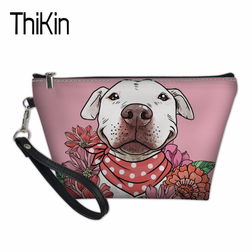 THIKIN Makeup Pouch Organizers Bags for Women Pit Bull Terriers Toiletry Bag Pink Cosmetics Make Up Pouchs Functional 55 Bag