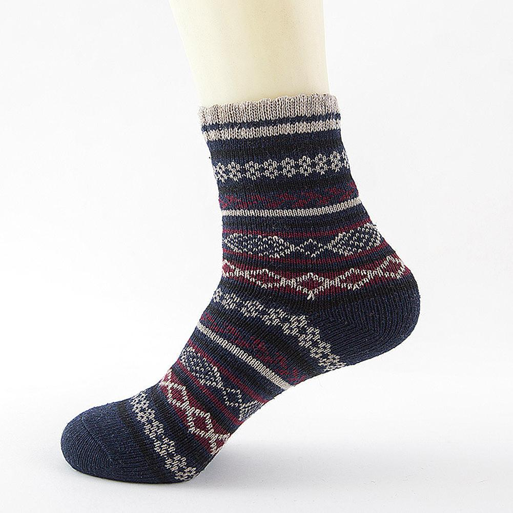 1 Pair Warm Men Socks Ethnic Style Cotton Knitting Winter Fall Crew Socks Winter Style Christmas Winter Socks Cotton Soft