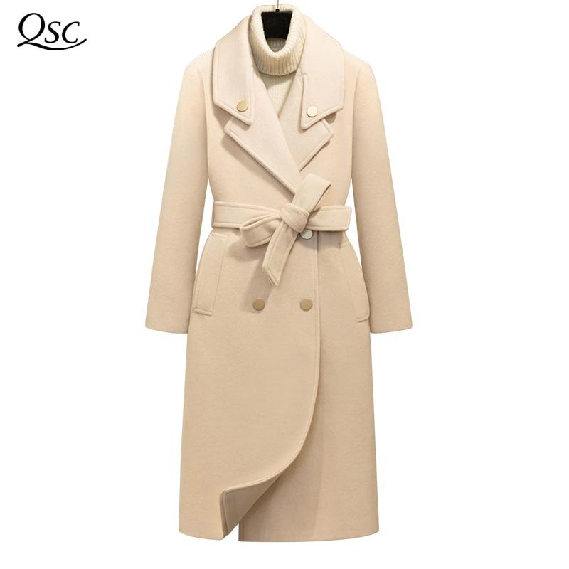 QSC Spring Autumn Winter Coat Women Belt 2018 Coat Famale Overcoat Long Slim Blend Turn Down Collar Woolen Outerwear NZ25