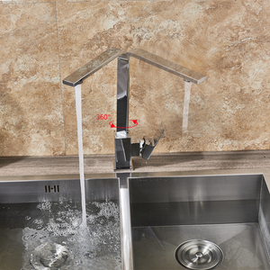 Image 5 - Mitigeur chaud froid, robinet de cuisine en Nickel brossé rotatif à 360 degrés montage sur pont, robinet pour cuisine à levier unique un trou, grue de cuisine salle de bains