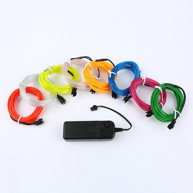 Glow EL Wire Cable LED Neon Christmas Dance Party DIY Costumes Clothing Luminous Car Light Decoration Clothes Ball Rave 1m/3m/5m
