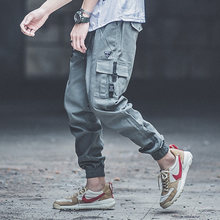 Punk Style Fashion Mens Jeans Army Green Loose Fit Jogger Pants Khaki Color Hip Hop Jeans Big Pocket Cargo Pants pantalon hombre(China)