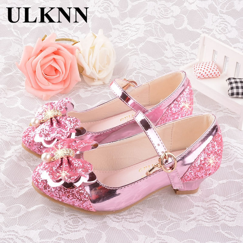 ULKNN Girls Autumn Heel Shoes Fashion Wild Bow Crystal Shoes High-heeled Princess Single Students Show Children's Shoes