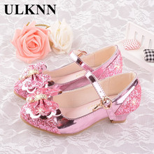 ULKNN Girls autumn Heel shoes fashion wild bow crystal shoes high-heeled princess single students show children's shoes free shipping customize women s small yards 32 33 velvet high heeled single thick heel shoes sweet princess plus size shoes 40