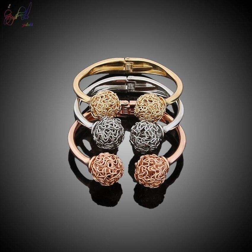 YULAILI 2018 nouveauté alliage matériau trois tons couleur or Bracelets Bracelets pour femmes - 3