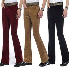 Зимние теплые мужские коммерческие повседневные брюки Bootcut вельветовые расклешенные брюки мужские эластичные брюки Bell-bottom для мужчин