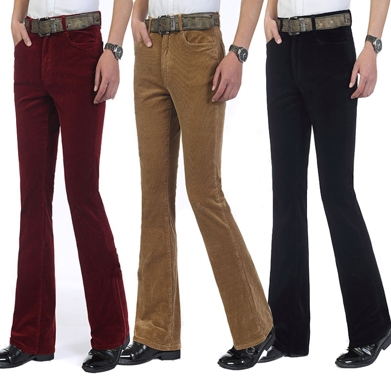 2018 Winter Warm Men's Commercial Casual Bootcut Pants Corduroy Flared Trousers Male Elastic Bell-bottom Trousers For Man