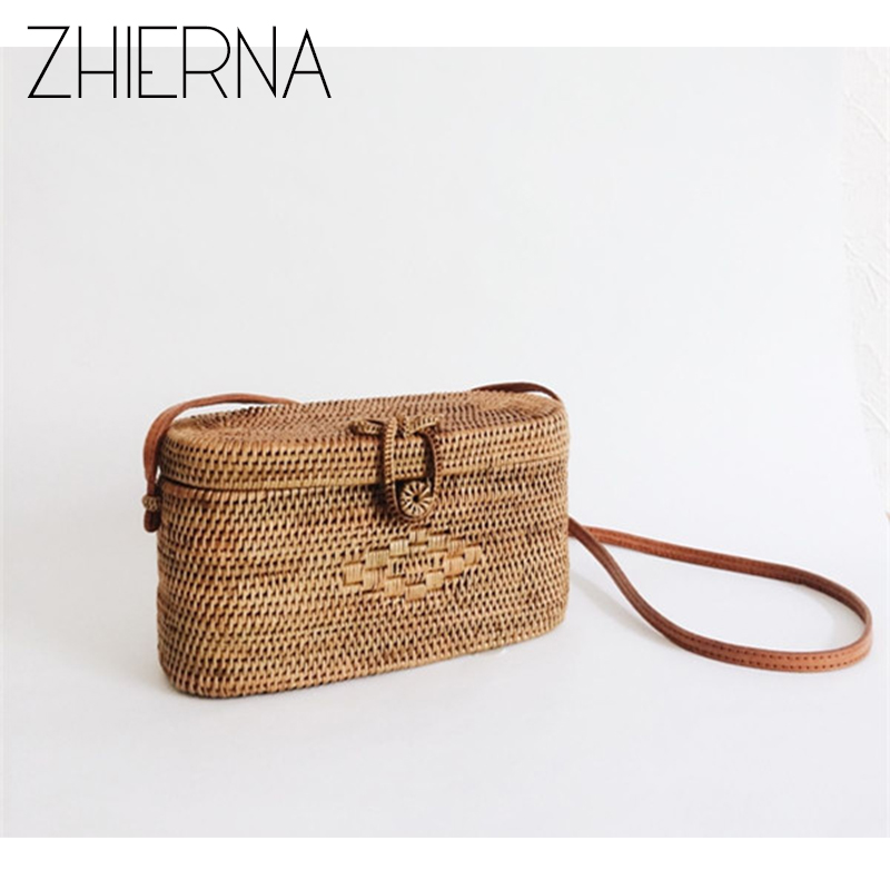 ZHIERNA Bali Island Rattan bag Small Handmade Straw Bag Popular Beach Bag for Women Crossbody Ata Handbag купить