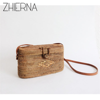 ZHIERNA Bali Island Rattan Bag Small Handmade Straw Bag Popular Beach Bag For Women Crossbody Ata