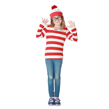 Adult Man Kids Red White Plaid Shirt Funny Family Suits Costume Ideas Where's Wally Cosplay Shirt For Women Girls Plus Size 2XL