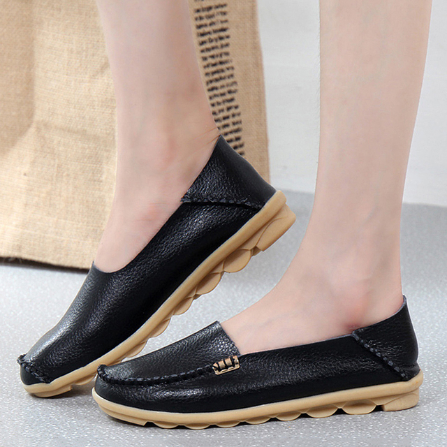 High Quality Flats Women Genuine Leather Flats Shoes Handmade Comfort Loafers Leisure Women's Shoes Slipony