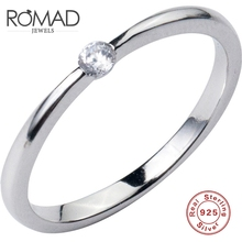 ROMAD 100% 925 Sterling Silver Ring Women Simple Rings For Women Cubic Zircon Wedding Engagement Ring Jewelry bague femme R50 natural yellow stone ring 925 sterling silver bague femme wedding punk statement pure s925 thai silver rings for women jewelry