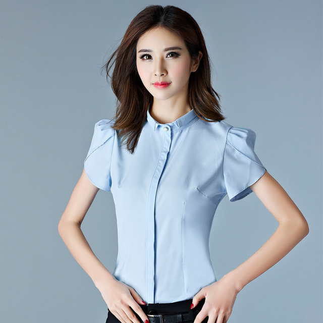 a2e4343f77b614 Korean OL Style Plus Size Women Work Wear Formal Blouses Designs Short Puff  Sleeve Ladies Office Shirts Basic Tops Professional