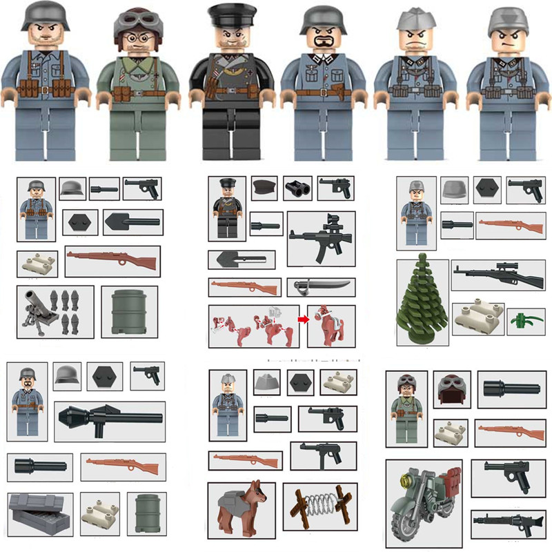 6pcs Stalingrad WW2 Russian Army Military SWAT Soldier Navy seals Weapon Mini Building Blocks Brick Figures Toy for Boy Kid set armed assault military army world war 2 weapon swat soldier gun heavy fire building blocks boy educational toy children gift kid