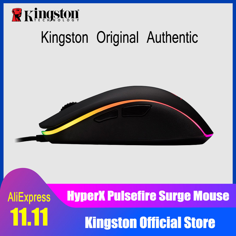 Kingston E-sports mouse Omron switch Pulsefire Surge RGB Gaming Mouse Pixart 3389 sensor wired mouse DPI is accurate to 16000 e 3lue ems109 wired gaming mouse white