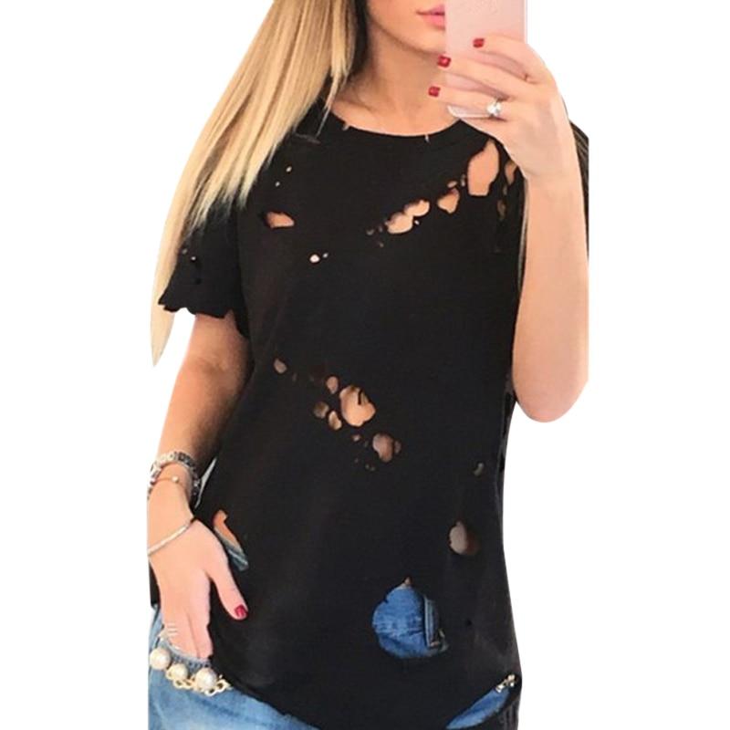 2017 Summer Holes T Shirt Women Fashion Sexy Black White Cotton Short Sleeve Ripped Tops Shirts Casual Loose T-Shirt S-XXL F4 como rasgar uma camiseta feminina