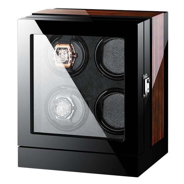 Saatler'ten Saat Kutuları'de Siyah pu deri mabuchi motor otomatik izle kutusu led dokunmatik ekran ahşap sarıcı saat zembereği 4'da  Grup 3