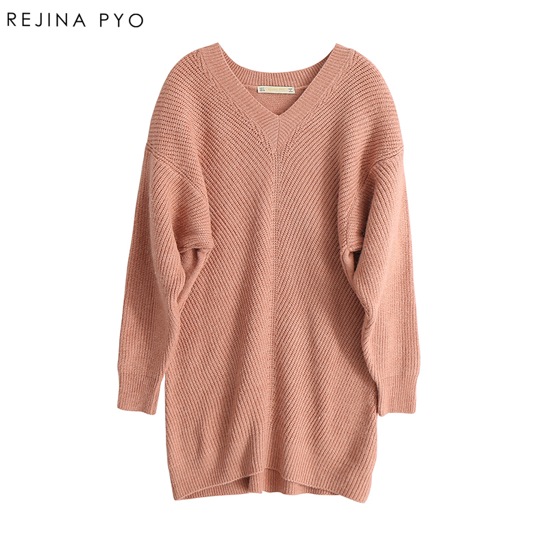 REJINAPYO Women Sweet Solid Loose V-Neck Long Knitted Sweater Female Fashion High Street Pullovers 2018 Autumn New Arrival