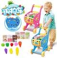 Simulação Carrinho de Compras carrinho de bebê Brinquedos para As Crianças Pretend Play Móveis brinquedos conjunto de cozinha em miniatura do supermercado