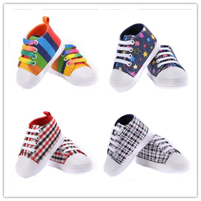 Baby Shoes Classic Canvas Baby Girl Shoes Newborn Rainbow Camouflage Plaid 9 Color First Walkers Sports Baby Shoes