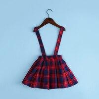 Lovely Kids Girls Preppy Style Plaid Pattern Little Princess Suspender Skirt