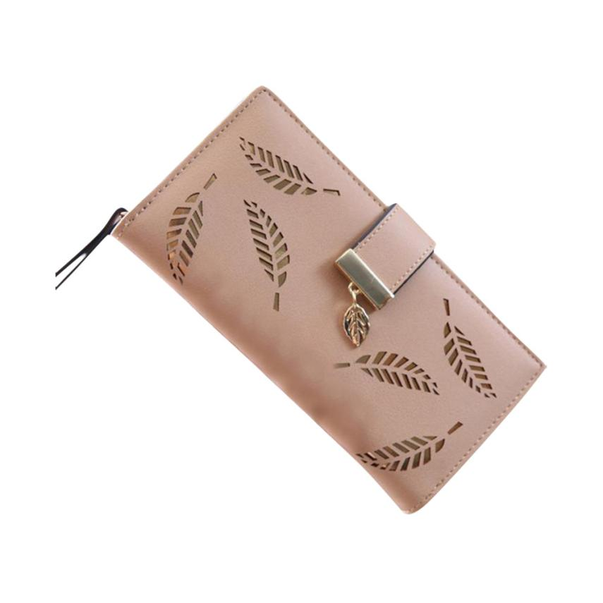 все цены на 2017 Women Wallets Leaf Bifold Wallet Leather Clutch Women Card Holder Purse Lady Long Handbag carteras mujer purse female онлайн