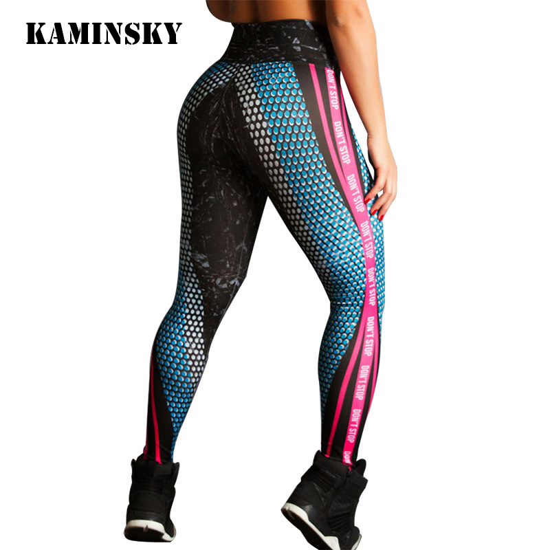 Kaminsky S-XL Push Up Women's Fitness   Leggings   Fashion Stretch Slim Printed Pants High Waist Elastic Workout Sexy   Leggings